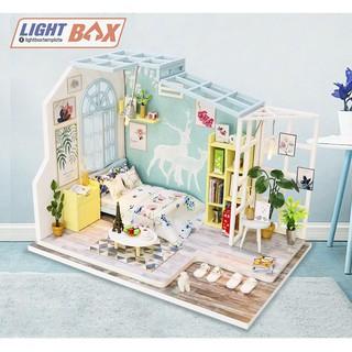 Nhà búp bê Tự làm bằng gỗ [Nhà Mô Hình có nội thất FAMILY NAP + đèn LED] Tặng kèm khung bảo vệ