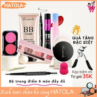 Bộ trang điểm Lameila 8 món tiện lợi set makeup chuyên nghiệp tặng kèm mút BTD-L801 thumbnail