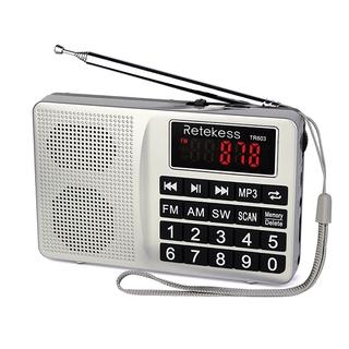 Đài radio Retekess TR603 AM FM sóng ngắn điều chỉnh kỹ thuật số hỗ trợ máy nghe nhạc Mp3 thẻ TF Pin sạc Li-ion thumbnail