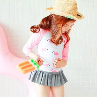 Đồ bơi 2 mảnh cao cấp phong cách Hàn Quốc cho bé gái áo dài tay phối chân váy BBShine – DB012