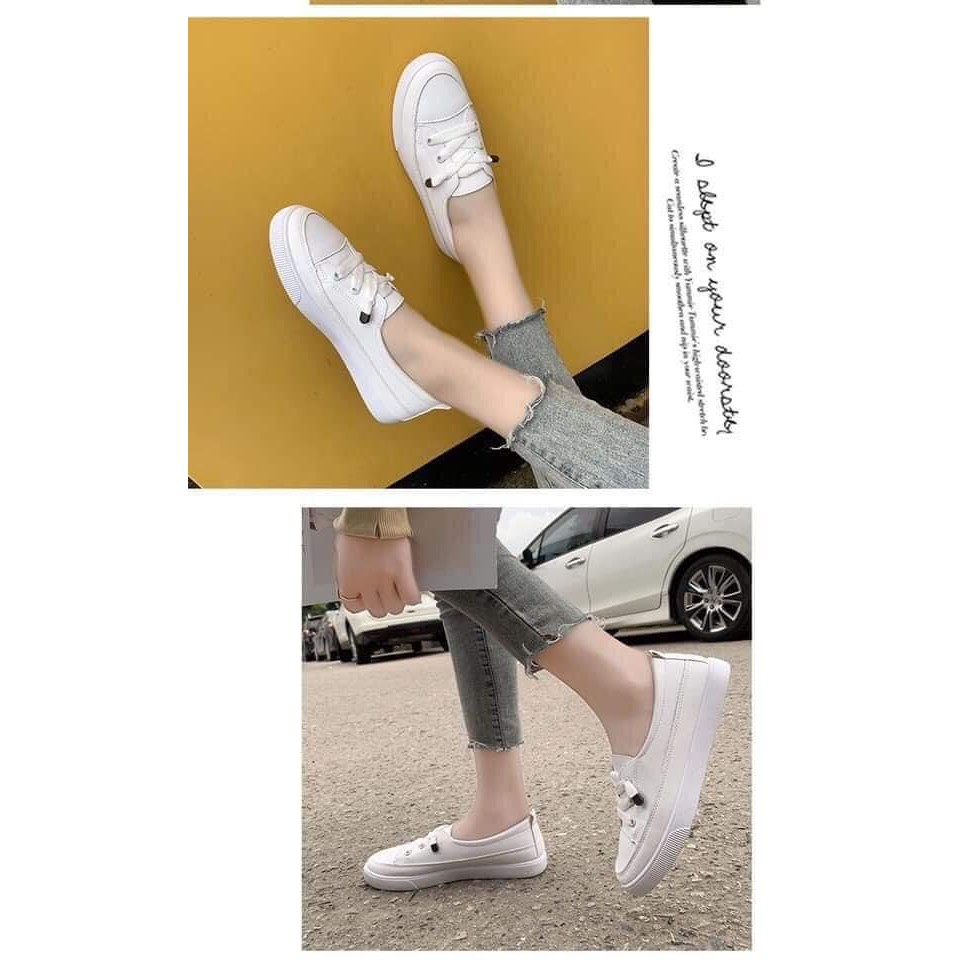 GIÀY thể thao trắng slip on_giày bata trắng buộc dây hot 2021