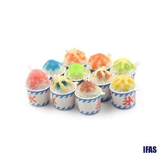 (IFAS)1:6 Dollhouse Miniature Summer Drinking Ice Cups Simulation Cold Drink Food Toy