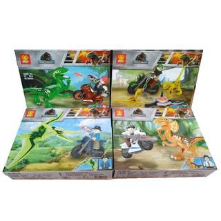 Bộ 4 hộp lego lắp ráp xếp hình mô hình cuộc đi săn khủng long hoang dã 127 khối ZB606