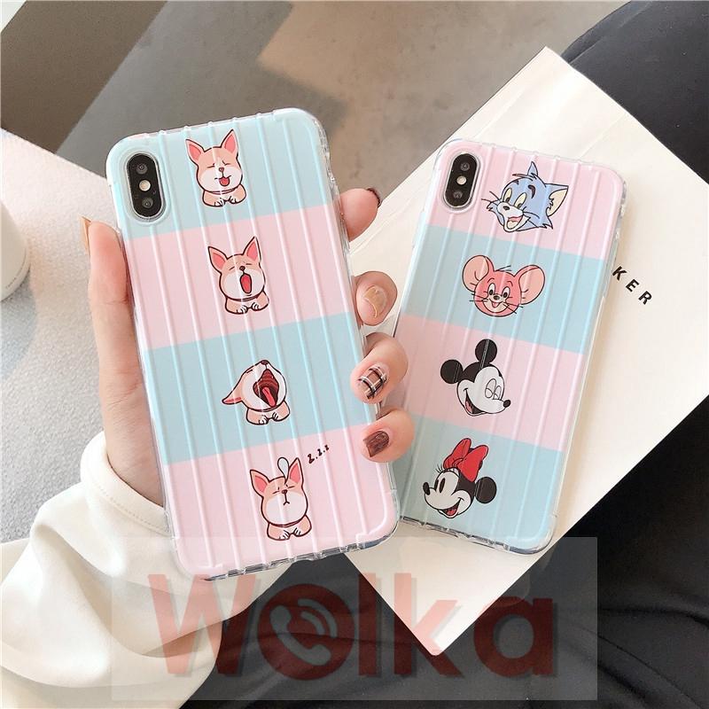 Casing iPhone 11 11pro Max 6 6s 7 8 Plus X XR XSMAX Cute Cartoon Shiba Inu Mickey Minnie Trunk Case