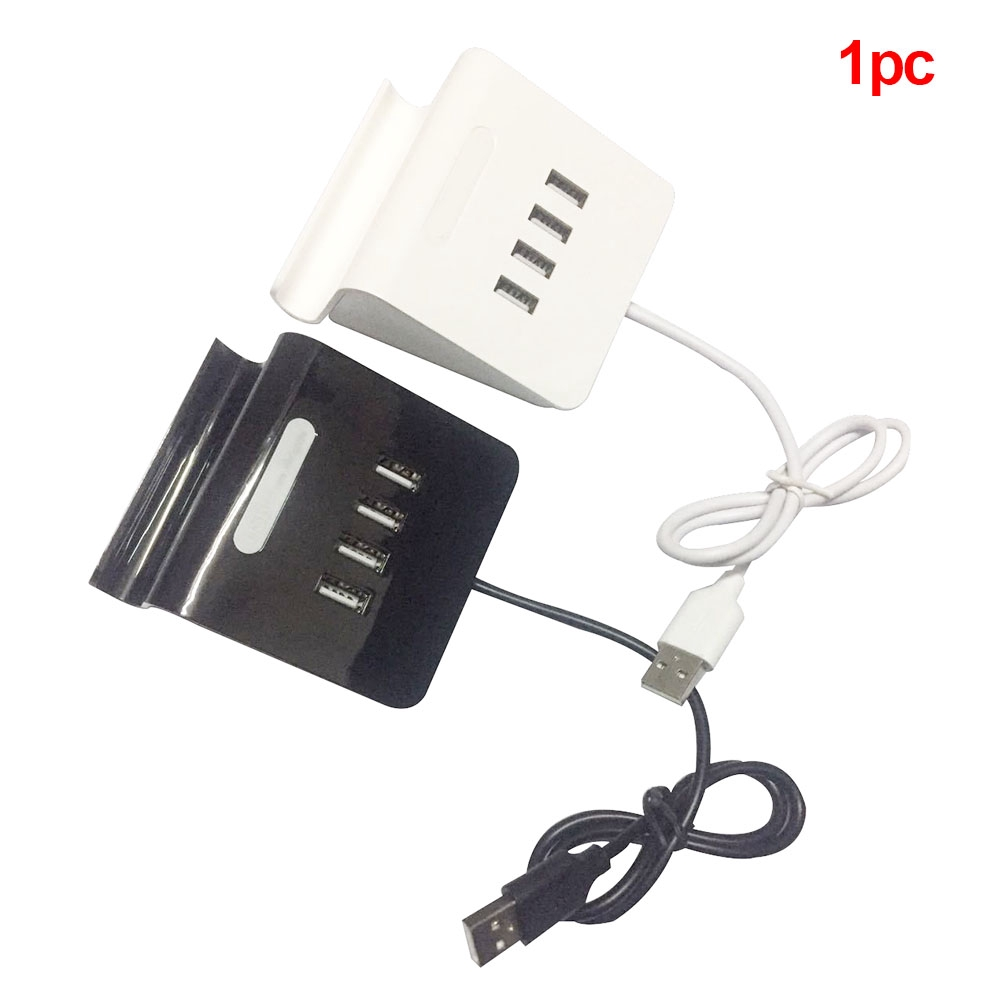 4-Port Durable Black ABS Universal Portable With Phone Holder Transfer USB 3.0 HUB Adapter