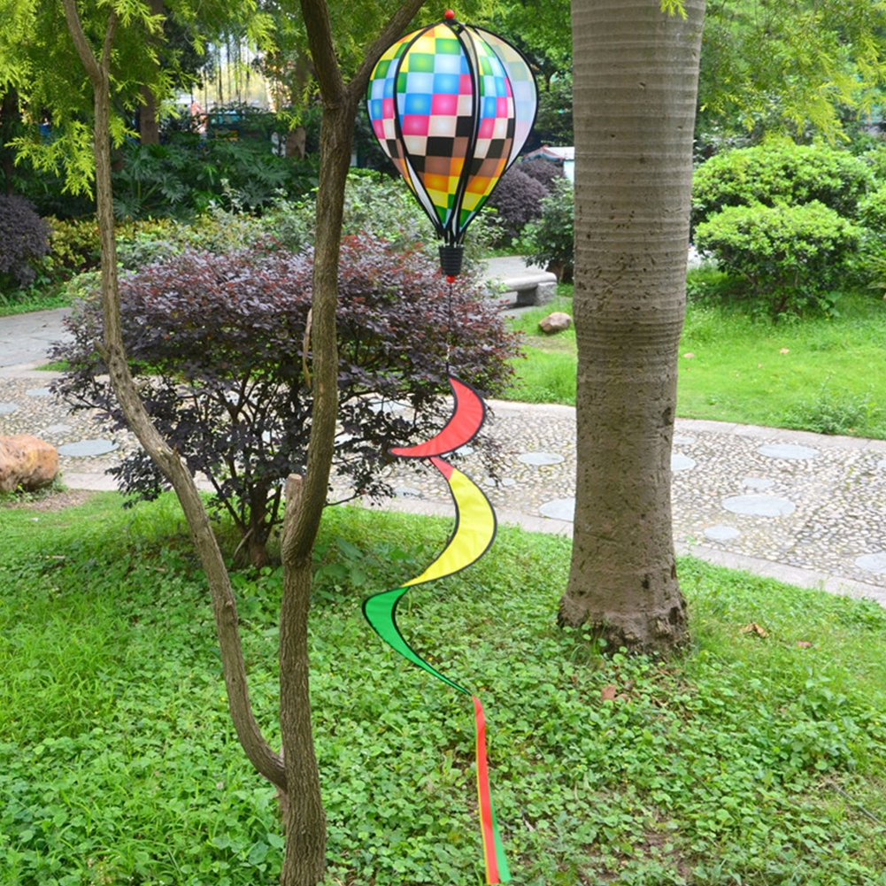 1PC Random Color Windmill Hot Air Balloon For Children RFID Blocking Striped Windsock Rainbow Multi-color Wind Spinner