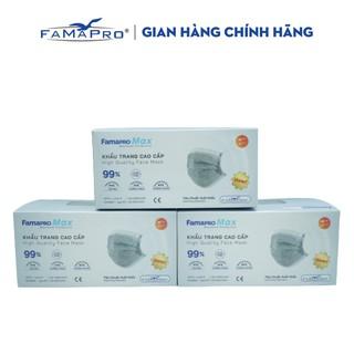 Combo 3 hộp khẩu trang y tế cao cấp kháng khuẩn 4 lớp Famapro max màu xám ( 40 cái hộp ) thumbnail