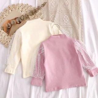 Áo cotton len, áo len tăm pha lưới ống tay xinh cho bé gái áo noel cho bé trai bé gái