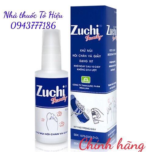 Zuchi Family (Chính hãng)- Xịt khử mùi hôi chân và giày. Lọ 50 ml