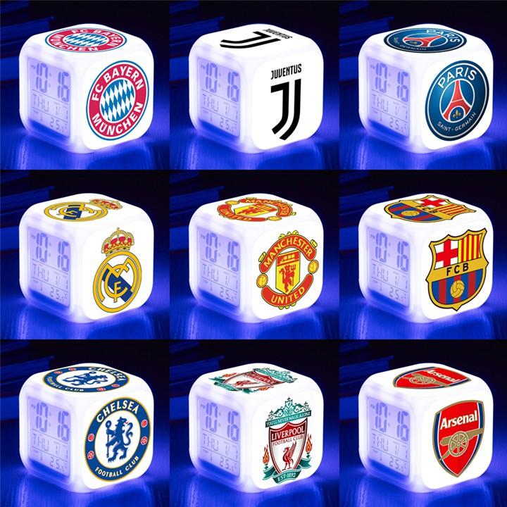 Đồng hồ để bàn led 7 màu câu lạc bộ bóng đá