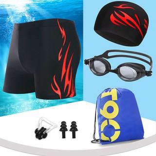 [Spot] Men's Adult Boxer Swimming Shorts, Swimming Goggles, Swimming Cap, Spa Set, Men's Fashion Boxer Large Size Plus Fat Swimsuit
