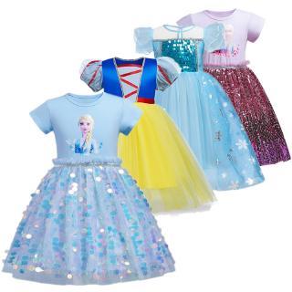 Đầm công chúa Elsa Anna dáng xòe đính kim sa lấp lánh dễ thương cho bé gái