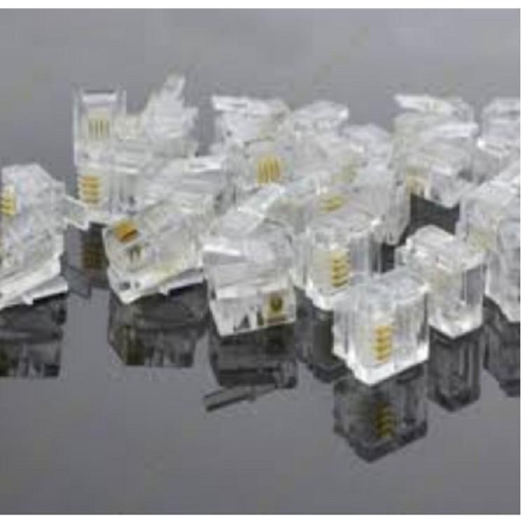 hạt điện thoại RJ 11 túi 1000 đầu 4 lá đồng