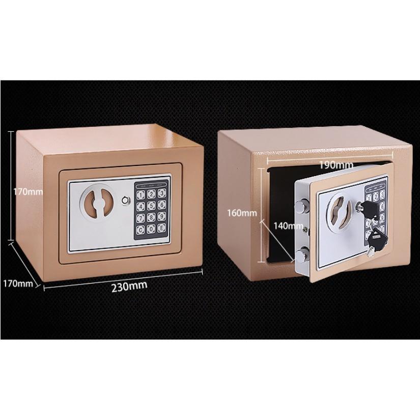 Két sắt an toàn cỡ nhỏ xách tay mini tiết kiệm cho gia đình - sử dụng cả mã số và khóa chìa đồng thời