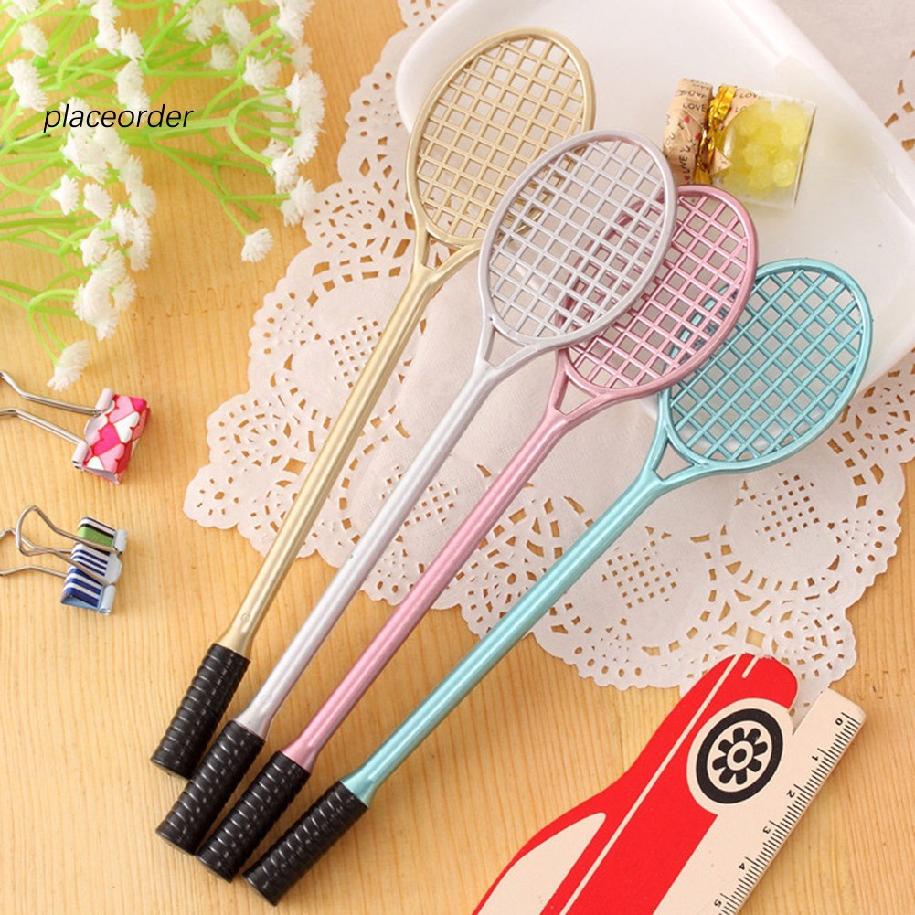 [Hàng mới về] 4Pcs Novelty Cute Badminton Racket Style Writing Gel Ink Pens for Office School