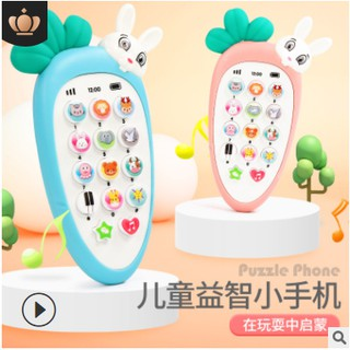 ( Mẫu mới - Kèm Pin AAA) - Điện thoại đồ chơi cho bé, có nhạc và đèn( kèm vỏ silicon + dây đeo + 3 pin AAA) thumbnail