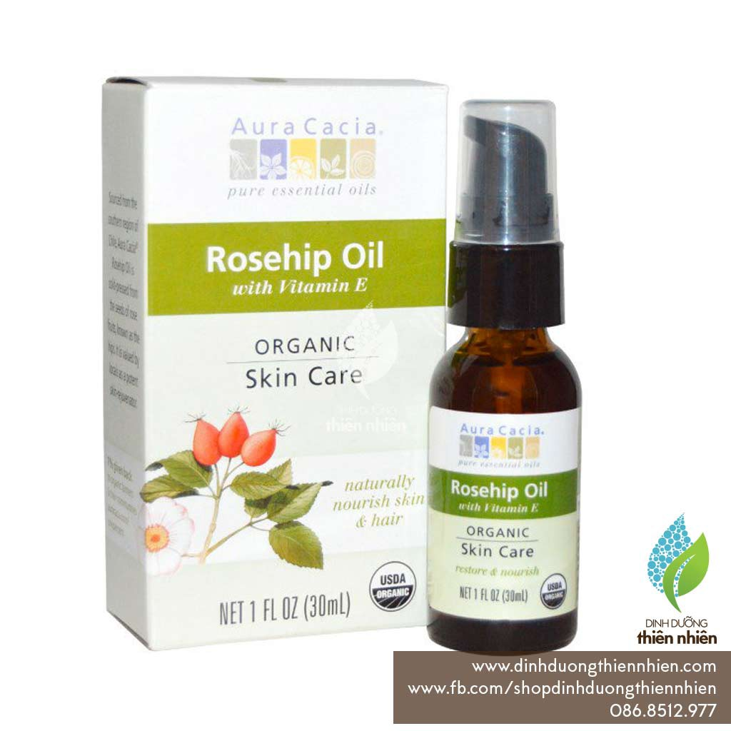 Dầu Nụ Tầm Xuân Hữu Cơ Aura Cacia Rosehip Oil, 30ml