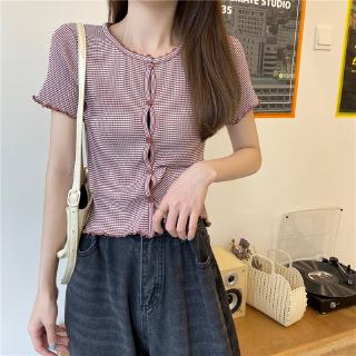 women's cardigan Real sleeve ~ T-shirt short edge with ear shot wooden STRIPE TOP price real loose