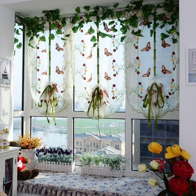Pastoral Butterfly Print Curtain Panel Window Sheer ScarfGood ranchotion