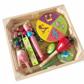 Đồ chơi trẻ em Vivitoys, Set nhạc cụ bằng gỗ 9 chi tiết.