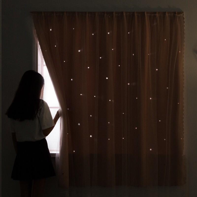 Rèm cửa dán hai lớp họa tiết ngôi sao lấp lánh tiện lợi không khoan tường dễ dàng vệ sinh Tom House