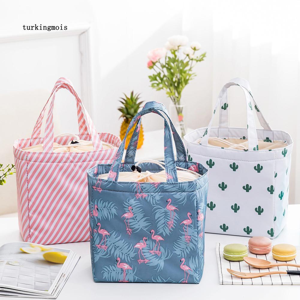 Túi giữ nhiệt đựng hộp cơm trưa in họa tiết chim hồng hạc xinh xắn ...