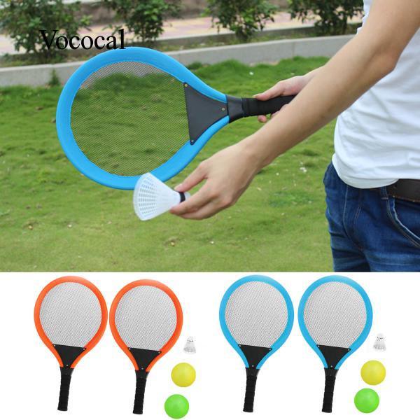 Trẻ em Thể Thao Ngoài Trời Đồ Chơi Set Tennis Cầu Lông Vợt 2x Balls 1 cái Đá Cầu