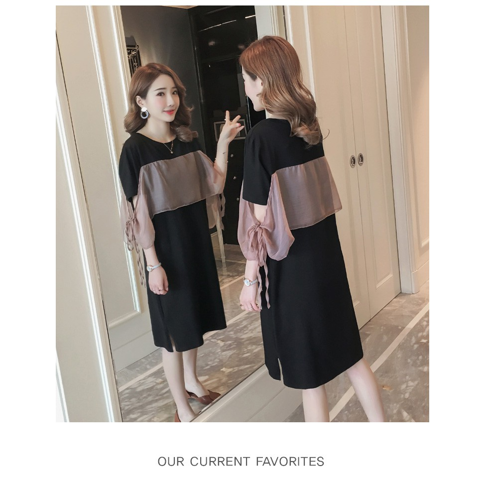 2306574550 - D34 Đầm bigsize váy bigsize PHỐI REN ms34 kiểu dáng style hiện đại váy đầm size lớn 50-100 kg