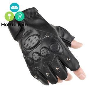 steampunk fingerless gloves half finger gloves motor Gloves Unisex Punk Black PU Leather Fingerless Gloves Solid Female Half Finger Racing Motocross Riding