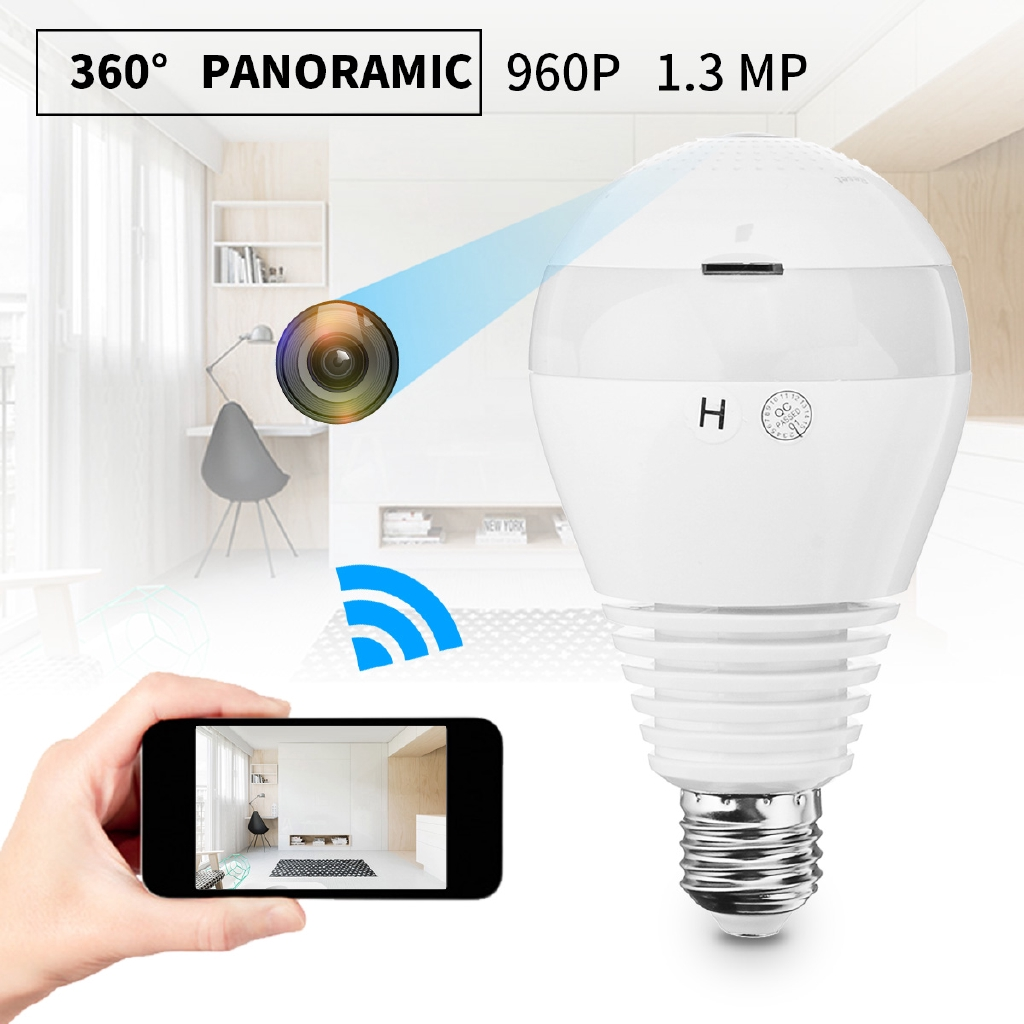 960P HD WIFI Panoramic View Smart Light Bulb 1.3MP Camera Monitoring