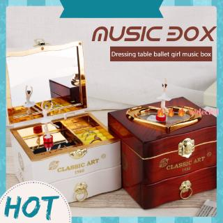 [vedecled] Classic Rotating Dancer Piano Music Box Clowork Jewelry Case Birthday Goft