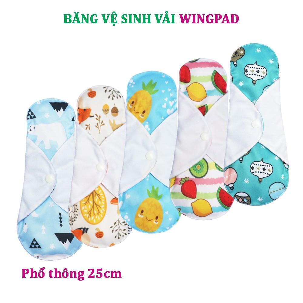 Combo 5 miếng băng vệ sinh vải WingPad - Phổ thông 25cm (mẫu ngẫu n