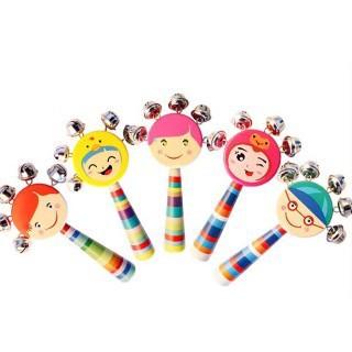 Bộ 4 đồ chơi xúc xắc sinh động cho bé ( mặt cười + trứng + gỗ cán dài + trống lắc) _HLimported _HL nhập hàn
