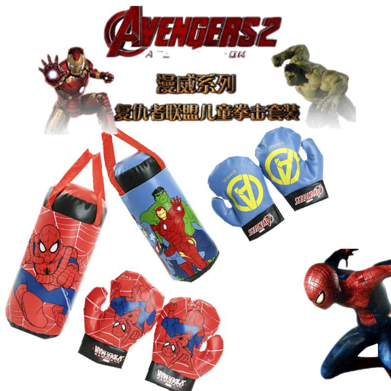 Kids Boxing Toy Spiderman Avengers Boxing Punching Bag And Boxing Gloves