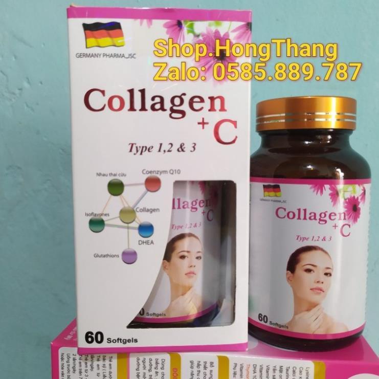 Collagen + C ĐẸP DA, SÁNG DA, LÀM MỊN DA,  MỜ THÂM, CHỐNG LÃO HÓA da HỘP 60 VIÊN