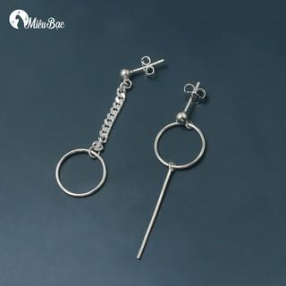 Khuyên tai nữ Miêu Bạc bất đối xứng phong cách thời trang Ulzzang Unisex - B000106