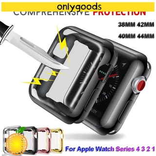 ONLY New for iWatch Apple watch 5 4 3 2 1 Slim Screen Protectors Protective Case Skin Ultra-thin Watch Cover Soft Plating TPU/Multicolor