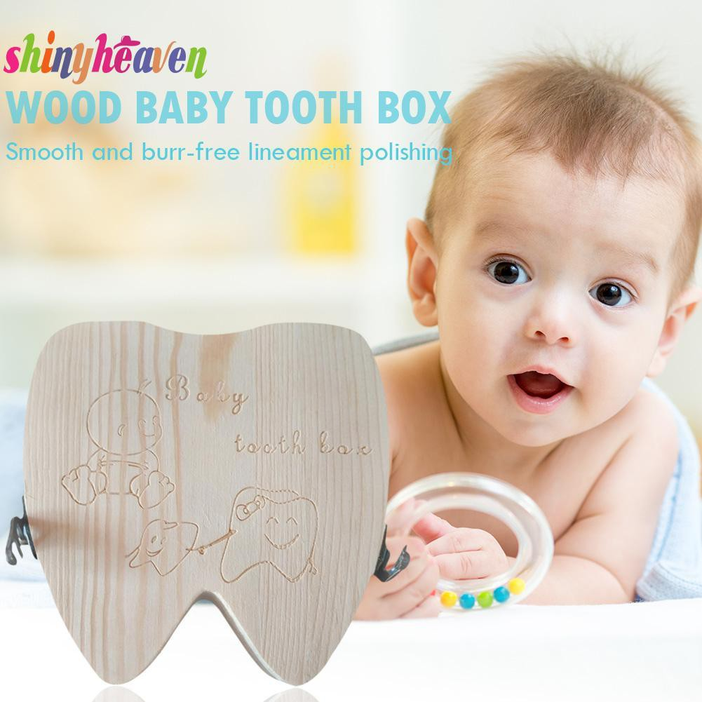 【Yuiiki】Kid Umbilical Lanugo Lovely Keepsakes Storage Case English-Typ Wood Baby Tooth Box