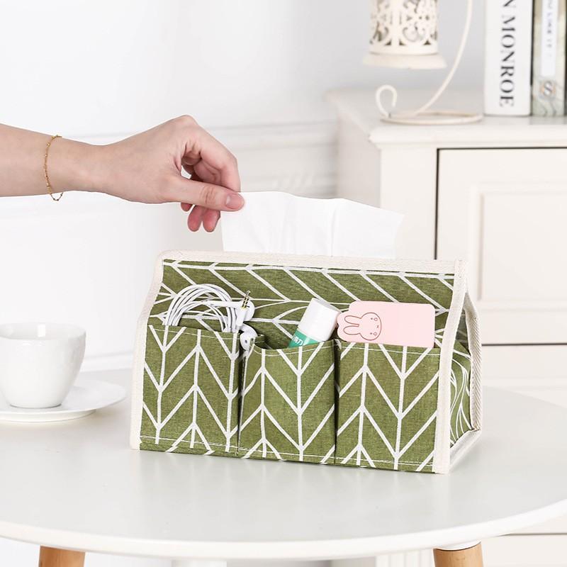 Hộp Đựng Khăn Giấy Đa Năng Để Bàn Túi Vải Cotton Nghệ Thuật Đựng Giấy Ăn Phụ Kiện Thông Minh - Xanh