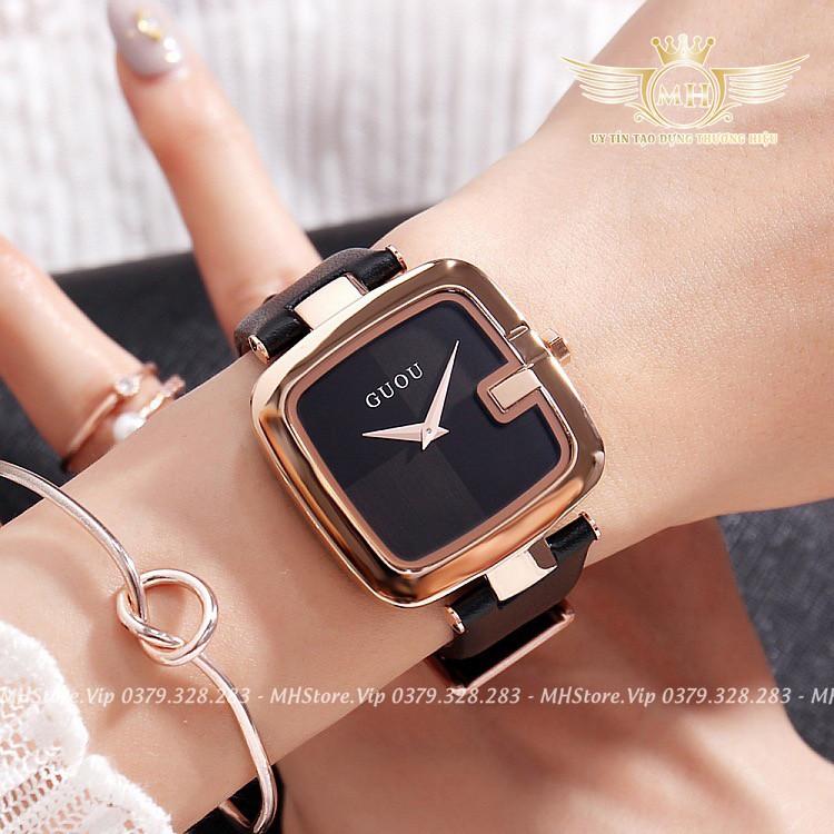 Đồng hồ nữ GUOU mặt vuông cao cấp (Đẹp từng milimet)