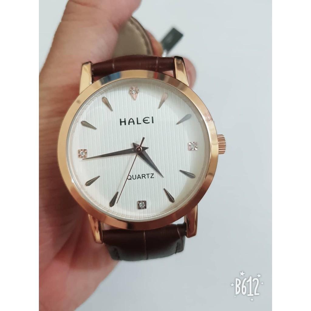 Đồng hồ Nam Halei dây da nâu cực kì lịch lãm siêu đẹp