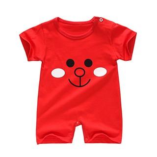 Jumpsuit tay ngắn hoạ tiết hoạt hình phối nút cho trẻ sơ sinh