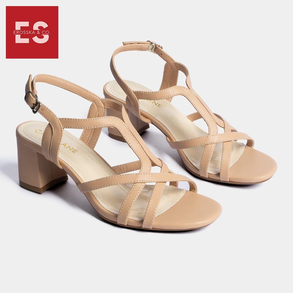 Carl & Ane - Giày sandal phối dây thời trang nữ mũi vuông gót cao 5cm màu nude _ CS002