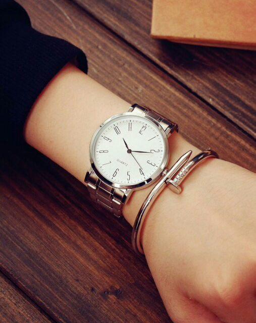 Đồng hồ hàn quốc nam thanh lịch dây inox thời trang trẻ