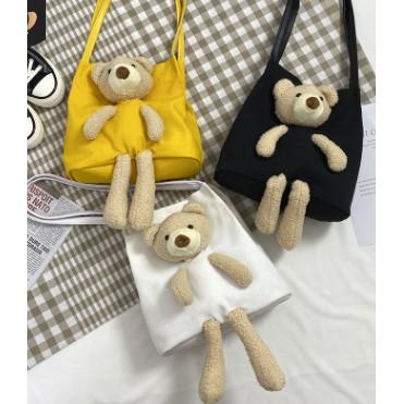 túi xách gấu bông, túi giỏ vải gắn gấu siêu cute