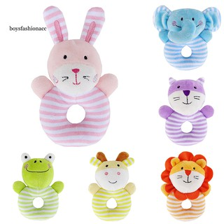 BOYS Cartoon Frog Elephant Rabbit Lion Cotton Handbell Rattle Infant Baby Sound Toy