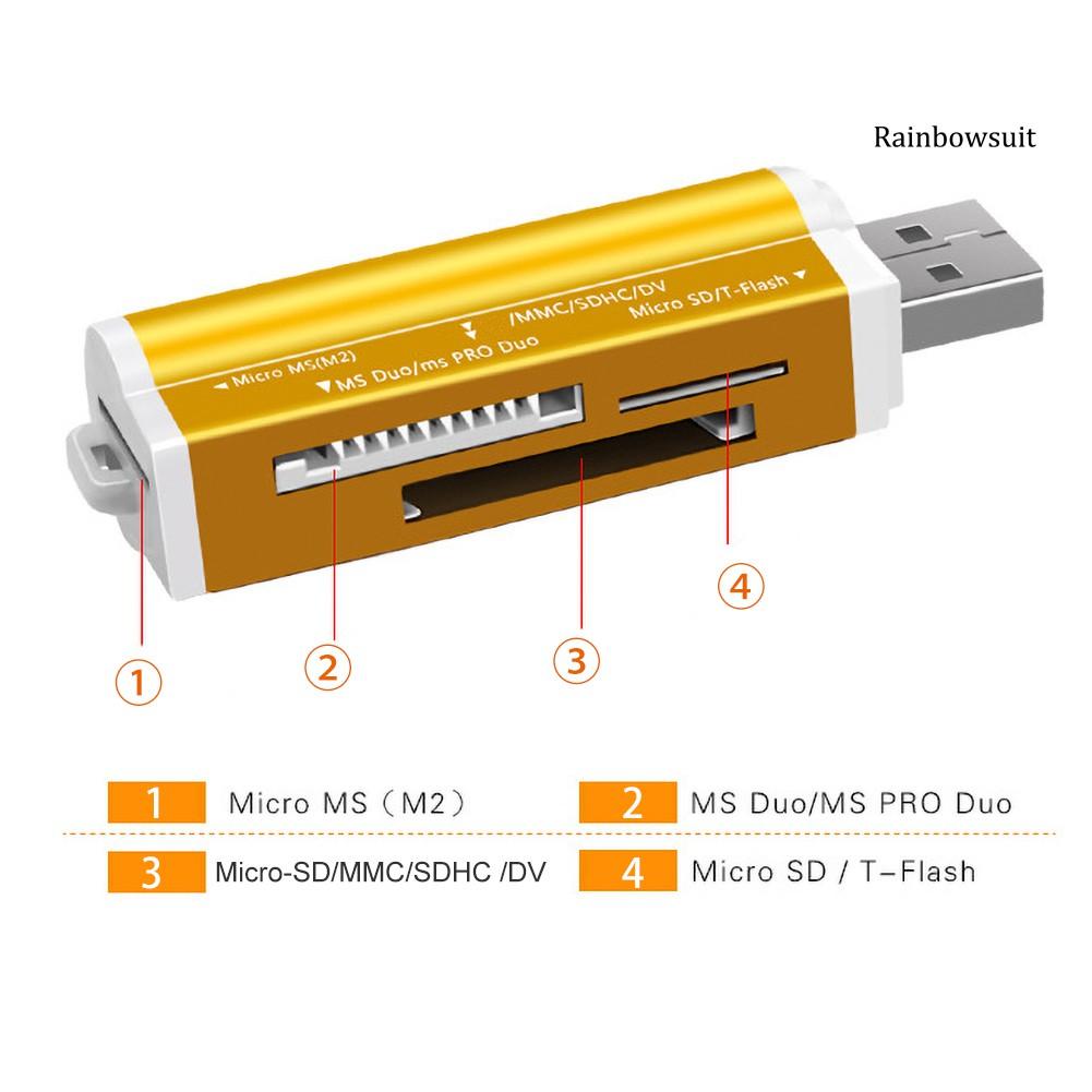 Đầu Đọc Thẻ Usb Tf / Micro-Sd / Ms / M2 4 Trong 1 Cho Máy Tính