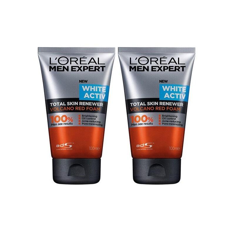 L'OREAL MEN EXPERT ชุดโฟมล้างหน้าสำหรับผู้ชาย ลอรีอัล เม็น เอ็กซ์เพิร์ท ไวท์ แอ็คทีฟ โวลคาโน เรด โฟม 100 มล. 2 ชิ้น