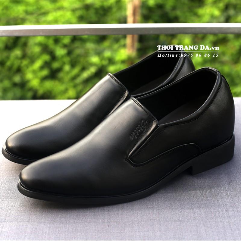 Giày lười da thật GLM70 dáng công sở, đế tăng chiều cao 6,5cm