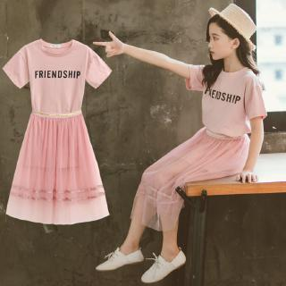 Short sleeve t-shirt + Korean style skirt for girls